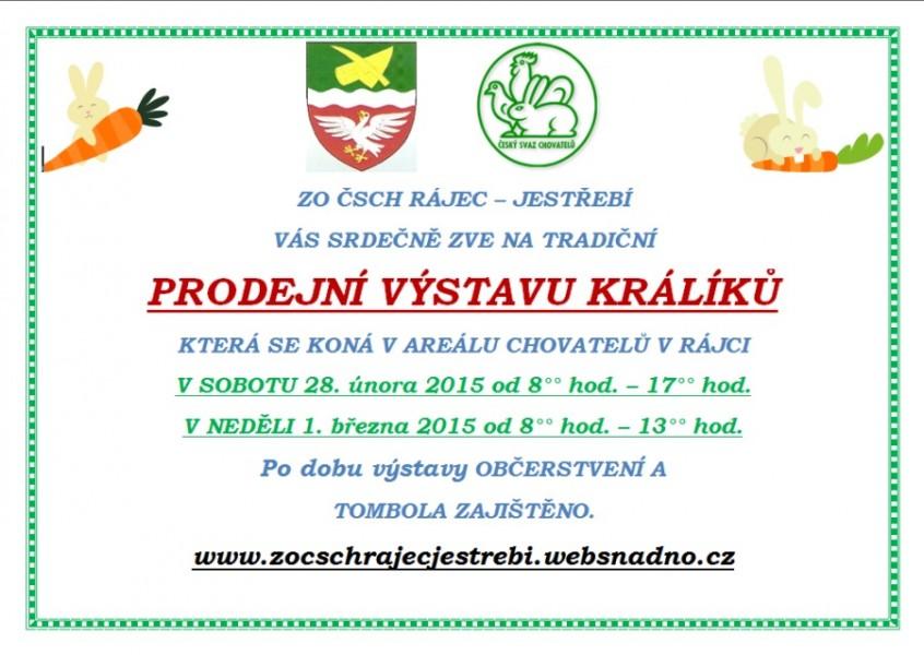 ČSCH Letovice, Pozvánka na prodejní výstavu králíků Rájec 2015